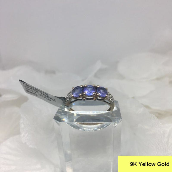 Size 9 (UK R-S), Tanzanite & White Topaz, 9K 375 Yellow Gold Ring tgw, 1.47 cts (+ ring-size adjuster)
