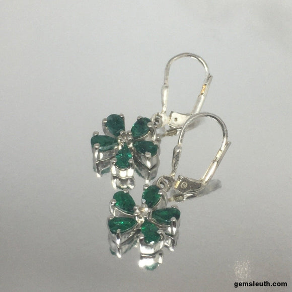 Emerald and White Topaz, Sterling Silver Earrings tgw, 2.14 cts