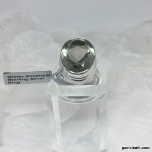Green Amethyst, Sterling Silver Ring, Size R-S / US 9, tgw, 14 cts (with FREE ring size adjuster)