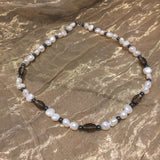 Smokey Quartz and Pearl, Sterling Silver Necklace