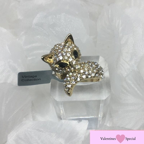 Gift Item - A Chic Statement Crystal Cocktail Catwalk Foxy Wrap Ring, Size O