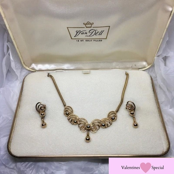 An Original Gift Set from Van Dell - 12K Gold Filled Necklace and Earrings