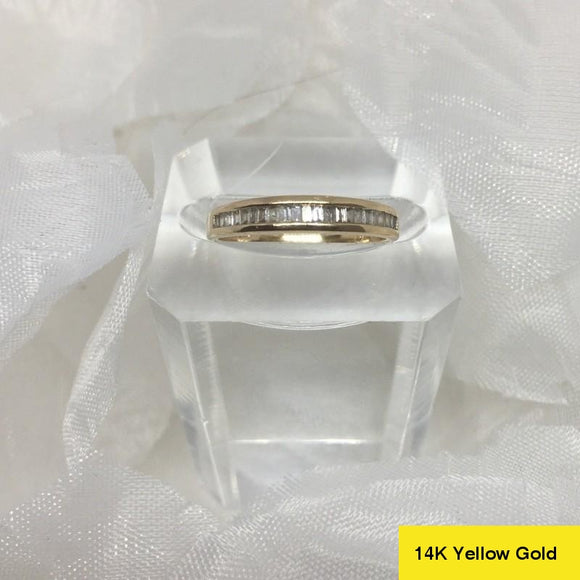 A Vintage William Lam and Co, 14k Gold 0.5 ct Diamond Band Ring, Size L