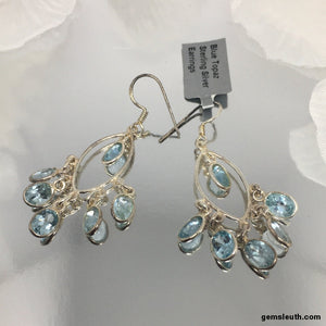 Blue Topaz, Sterling Silver Earrings tgw, 10.5 cts