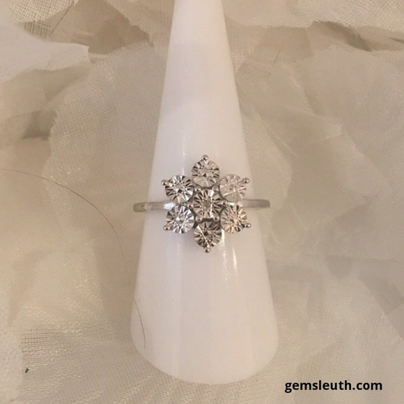 Diamond Floral Ring, Size N in Platinum Overlay Sterling Silver, 0.1 cts