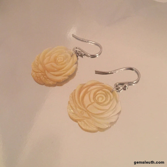 Carved Yellow Mother of Pearl Drop Earrings in Sterling Silver, Rhodium Plated