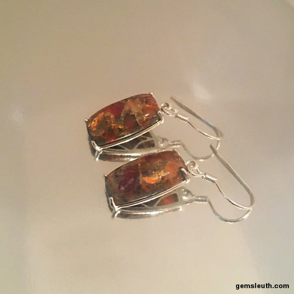 12 Carat, Matrix Fire Opal Dangly/Drop Earrings in Sterling Silver, 3 cms