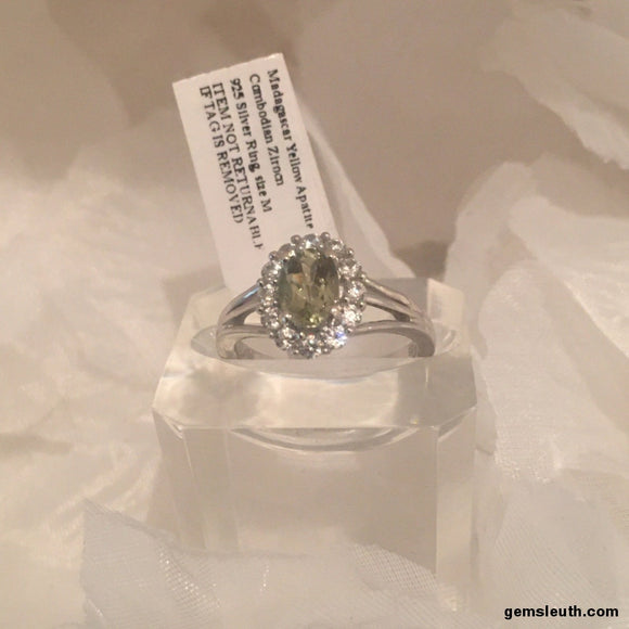 AA Madagascar Yellow Apatite and White Zircon Ring, Size O, Platinum on Silver, 1.34 Ct.
