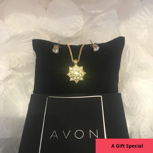 NEW - Boxed Gift Set of Cubic Zirconia Earrings and Necklace by Avon, Gold Tone