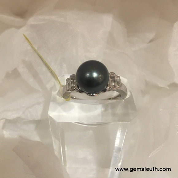 Tahitian Pearl and Topaz Ring (Size P) in Rhodium Overlay Sterling Silver