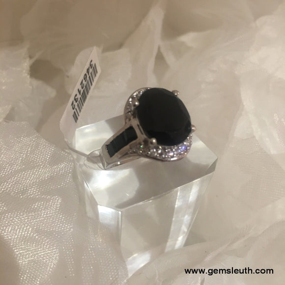 Black Spinel and Zircon Ring (Size N) in Platinum Overlay Sterling Silver 7.50 Ct.