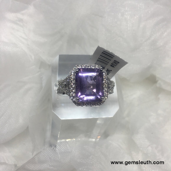 Rose De France Amethyst  (Size M) in Rhodium Overlay Sterling Silver 7.41 Ct