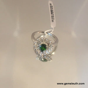 1 Carat Russian Diopside and Zircon Ring (Size O) in Platinum Overlay Sterling Silver