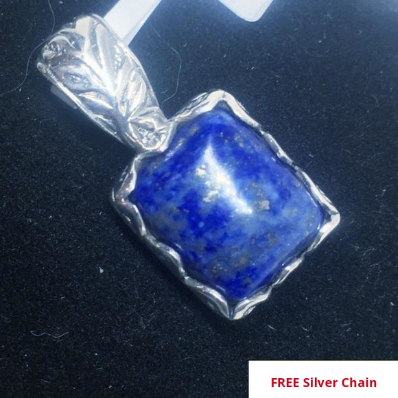 NEW Lapis Lazuli Pendant in Sterling Silver, 5.90 Ct. + FREE Silver Chain