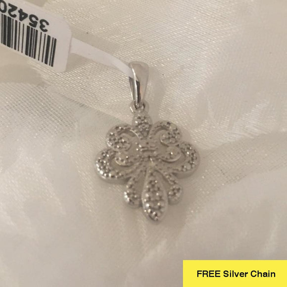 Diamond Fleur de Lis Pendant in Platinum Overlay Sterling Silver + FREE Chain