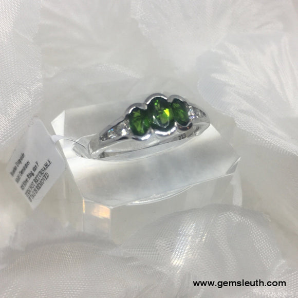 Russian Diopside and Zircon Ring (Size P) in Platinum Over Sterling Silver