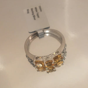 Size 9, Citrine and White Topaz, Sterling Silver Ring tgw, 1.54 cts (with FREE ring size adjuster)