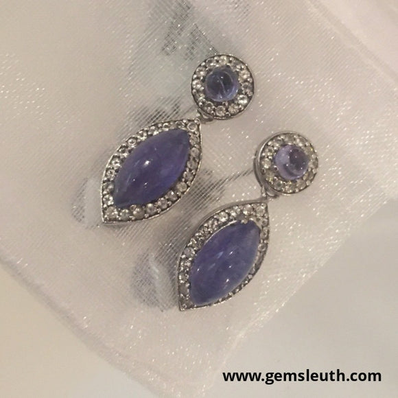 Tanzanite and White Topaz, Sterling Silver Earrings tgw, 6.43 cts