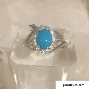 Sleeping Beauty Turquoise Ring (Size M) in Platinum Over Sterling Silver, 1.35 Ct.