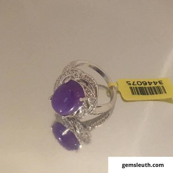Purple Jade and Zircon Ring (Size O) in Rhodium Over Sterling Silver 7.75 Ct.