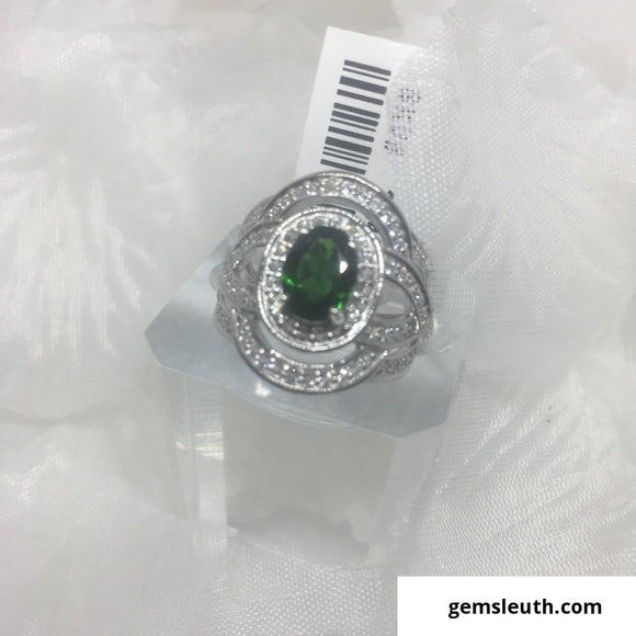 Designer Inspired - 3 ct Russian Diopside and Topaz Ring (Size L) in Rhodium Over 925 Silver