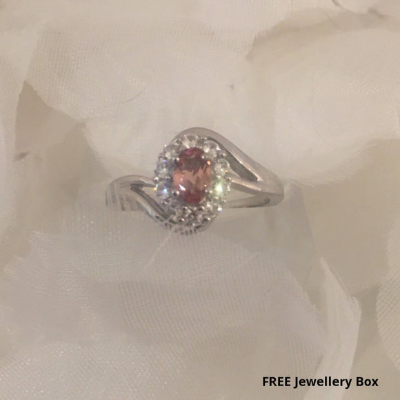 AA Pink Tourmaline and Zircon Ring (Size Q) in Platinum Overlay Sterling Silver 0.91 Ct.