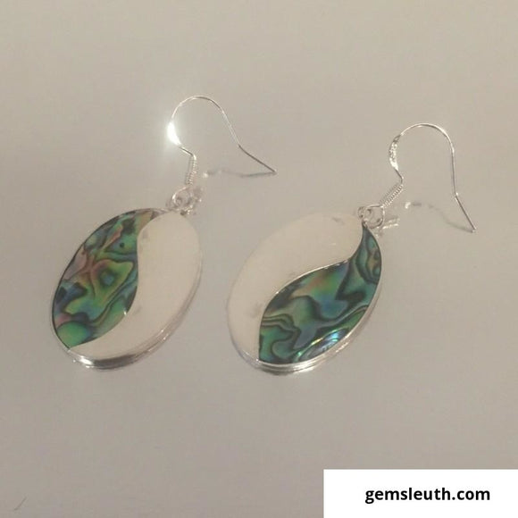Abalone Shell Drop Hook Earrings in Sterling Silver, Silver, 4cm drop,  3.4gm