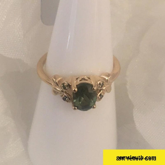 GREEN APATITE & GREEN DIAMOND 9K GOLD RING ATGW 0.84CTS, SIZE L-M