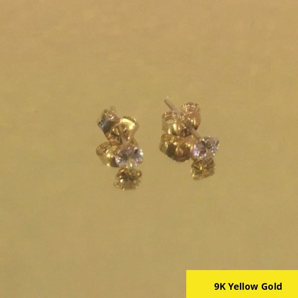 9 Carat (9K 9ct) Yellow Gold Faux Diamond (CZ) Stud Earrings