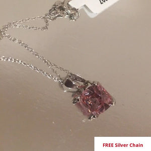 Simulated Morganite Pink CZ (Sqr) Pendant With Chain in Rhodium Over Silver
