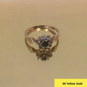 A Sapphire Blue and White CZ Ring in 9 Carat (9ct 375) Gold, Size N.5