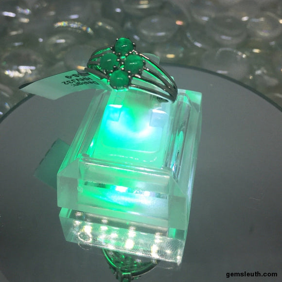 Size 9, Zambian Emerald, Platinum Plated Ring tgw, 1.08 cts (with FREE ring size adjuster)