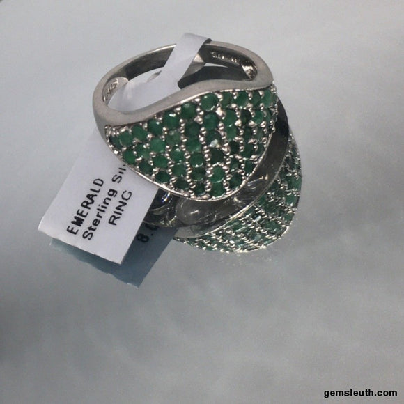 Size 8, Emerald, Sterling Silver Ring tgw, 1.5 cts (with FREE ring size adjuster)