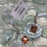 Hessonite Garnet and White Topaz, Sterling Silver Earrings tgw, 2.36 cts