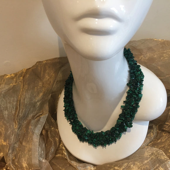 Malachite, Sterling Silver Necklace tgw, 700 cts