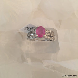 Ilakaka Pink Sapphire and Zircon Ring (Size N), Platinum Overlay Fine Sterling Silver