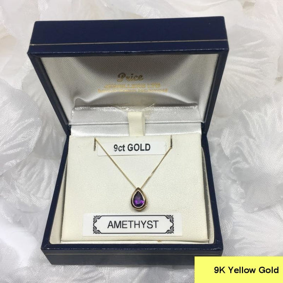 Amethyst Pendant set in 9k 375 Gold and complete with 9K 375 18 Inch Chain