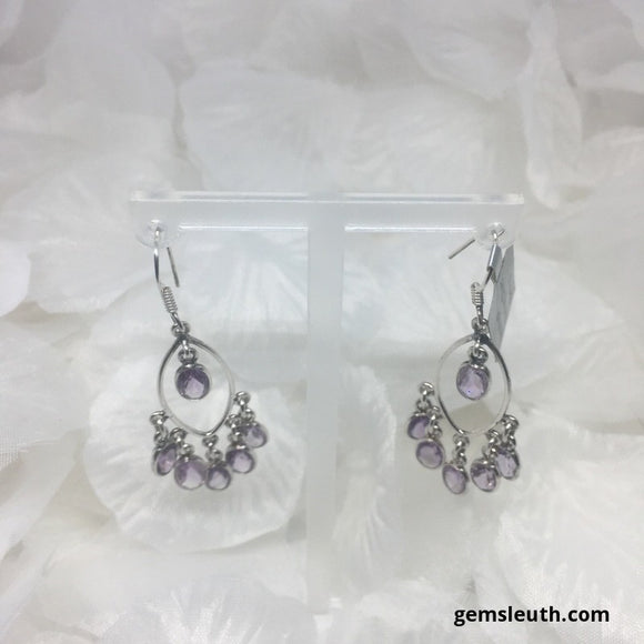 Amethyst, Sterling Silver Earrings tgw, 7.8 cts + Gift Box