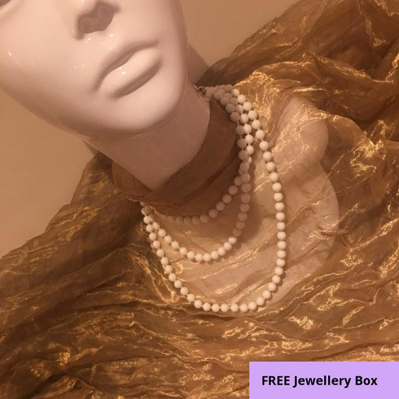 A 1960's Vintage, Heavy White Beaded, Opera Length Necklace + Gift Box