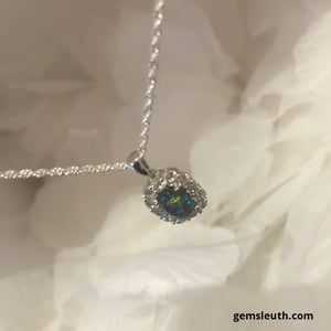 2 Carat Boulder Opal and Zircon Pendant, Rhodium Over Silver + FREE Chain