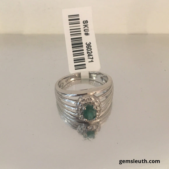 Zambian Emerald and White Zircon, Rhodium Over Silver Ring (N) tgw, 0.87 cts