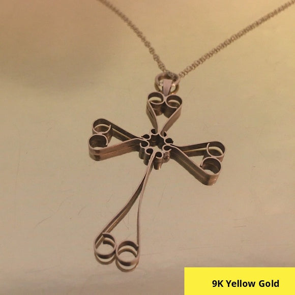 DESIGNER INSPIRED 9CT 375 YELLOW GOLD CROSS PENDANT WITH 16