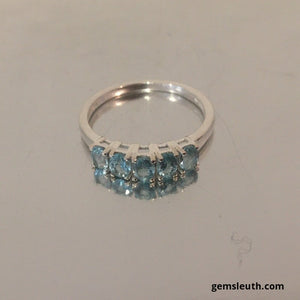 Paraibe Apatite Five Stone Ring (Size Q) in Sterling Silver.