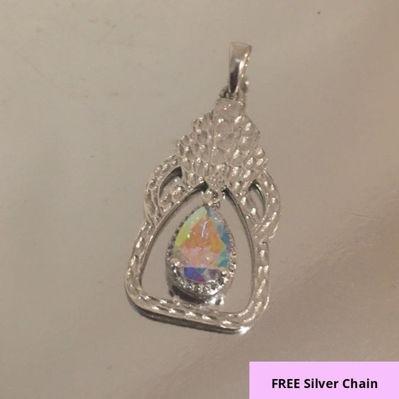 A Beautiful Mystic Topaz Pendant in Platinum Overlay Sterling Silver 1.50 Ct