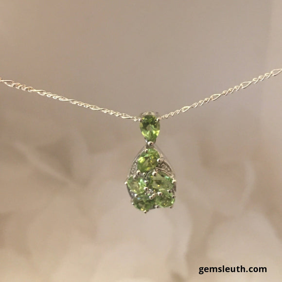AA Graded Peridot and Zircon Pendant in Platinum Over Silver, 2.50 Ct.+ FREE CHAIN