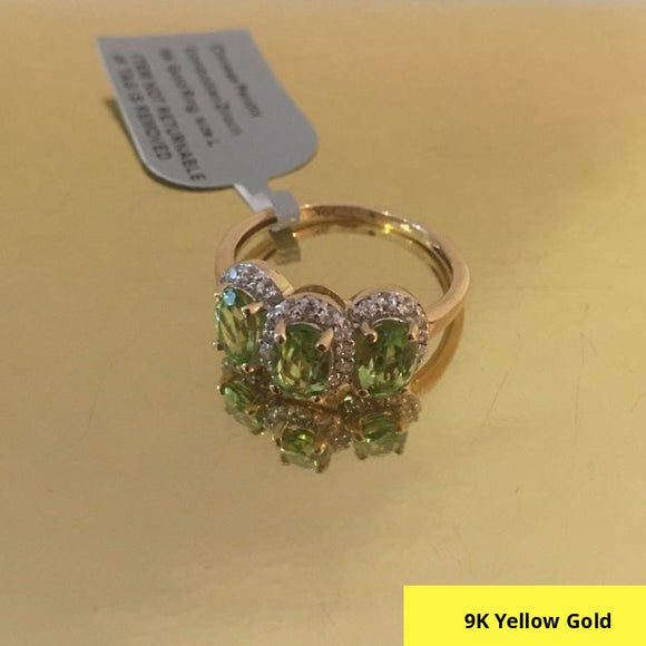 9K Yellow Gold AA Hebei Peridot and Zircon Ring (Size L), 2.00 Ct.