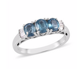 Indigo Kyanite and Diamond Trilogy Ring (Size L) in Platinum Overlay Sterling Silver