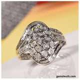 0.50 Ct Diamond Cluster Ring in Platinum Plated Sterling Silver, Size O
