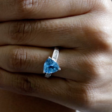 Swiss Blue Topaz and Diamond Ring (Size R) in Platinum Overlay Sterling Silver 3.00 Ct.