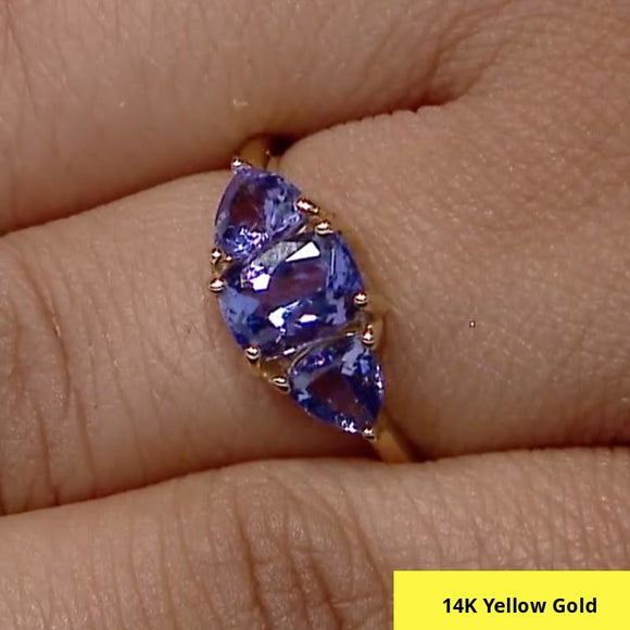 14K Yellow Gold Premium Tanzanite Trilogy Ring (Size L), 2.00 Ct.